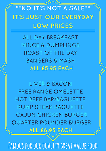Every Day Great Value Prices @ The Keel Row